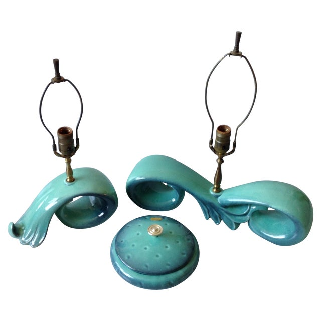 Mid-Century Sea Foam Green & Blue Pottery Lamp Set - Image 1 of 11