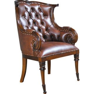 Solid Mahogany Leather Chair For Sale