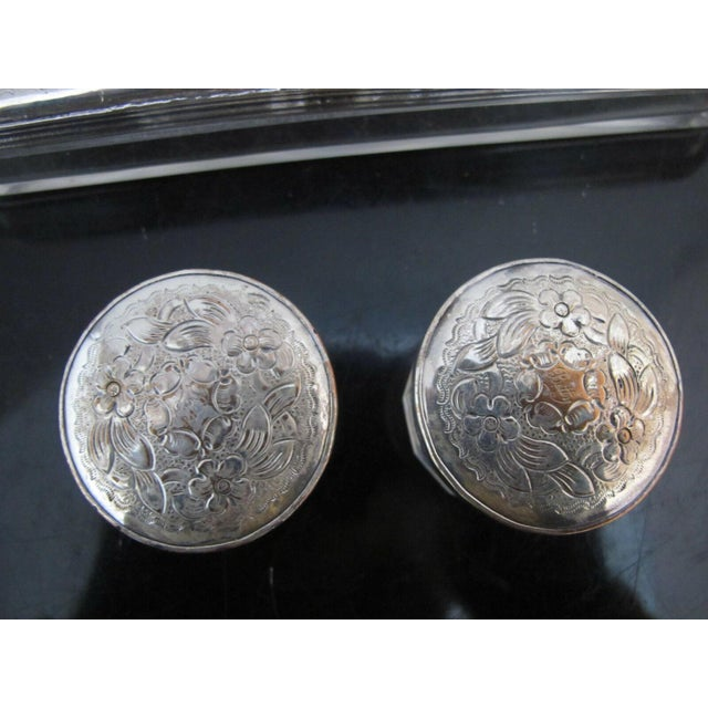 Antique Wood Vanity Jewelry Box Glass with Sterling Silver Jars & Key Betty Mono For Sale - Image 9 of 12