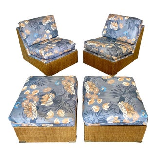 Vintage Wicker Slipper Chairs and Ottomans- Pair of Sets For Sale