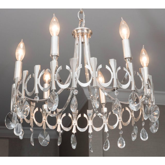 Mid-Century Modern Silverplate Six-Light Chandelier Attributed to Sciolari For Sale - Image 3 of 9
