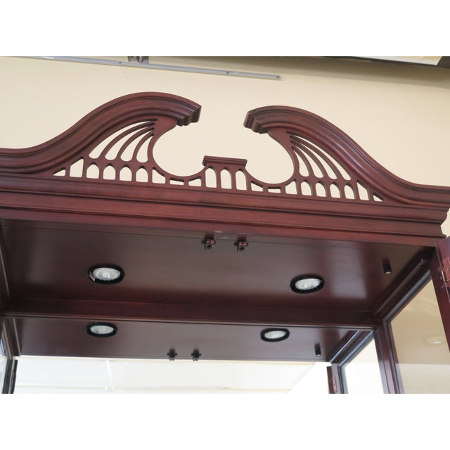 Brown Lineage Chippendale Style Cherry 2 Door Curio Cabinet For Sale - Image 8 of 11