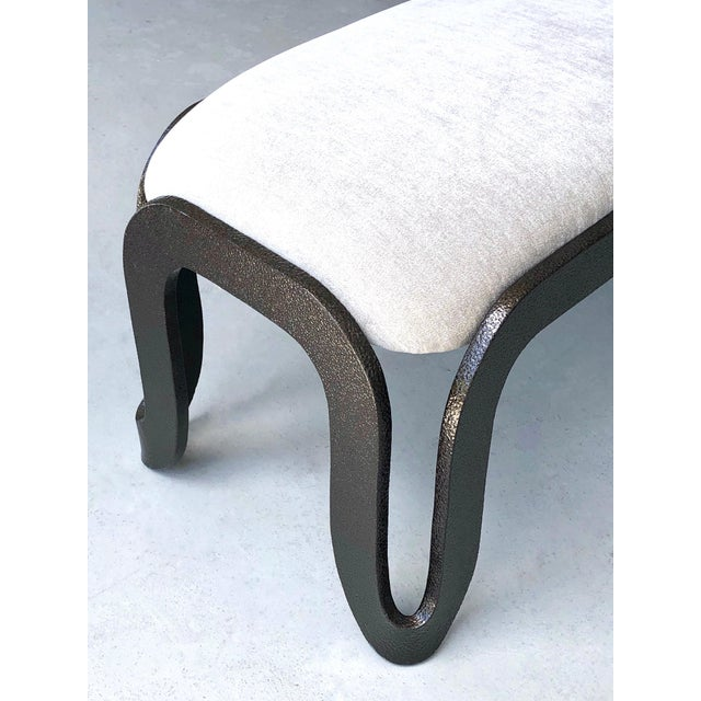 Pair of Abstract Modern Heavy Bronze Enamel Benches Ottomans, 1980s For Sale - Image 9 of 13
