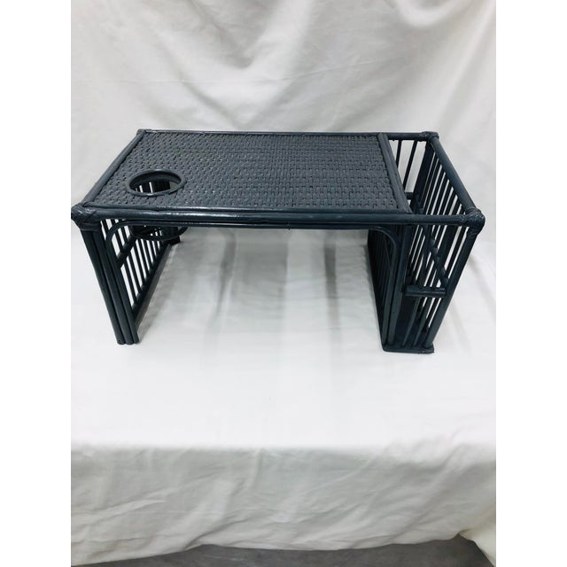 It's hard to find a wicker bed serving tray with drink holder. Also has a compartment for reading materials. This one has...