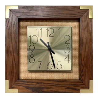 Vintage Wicker and Brass Wall Clock For Sale