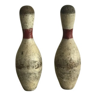 Vintage Red and White Wooden Bowling Pins - a Pair For Sale