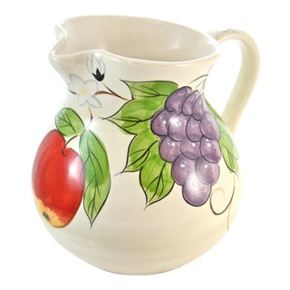 Hand Painted Grape Pitcher For Sale