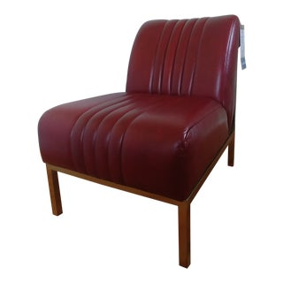 Modern Thomasville Furniture Mercedes Burgundy Leather Car Seat Accent Chair For Sale
