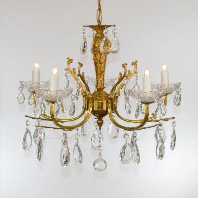 French Brass & Crystal Chandelier For Sale - Image 3 of 10