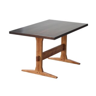 Rustic Solid Wood Knockdown Farmhouse / Trestle Table in Walnut Stain For Sale