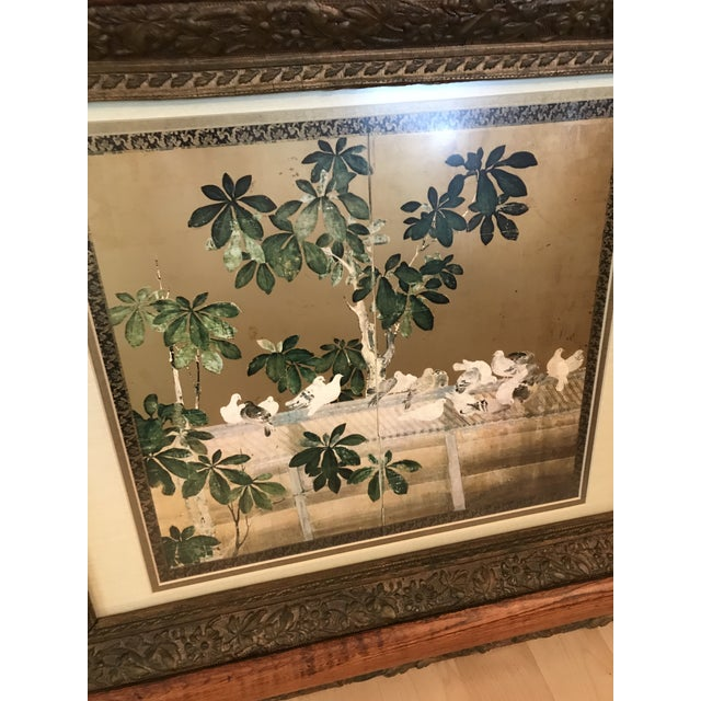Asian Antique Chinoiserie Panel Print in Wooden Frame For Sale - Image 3 of 13