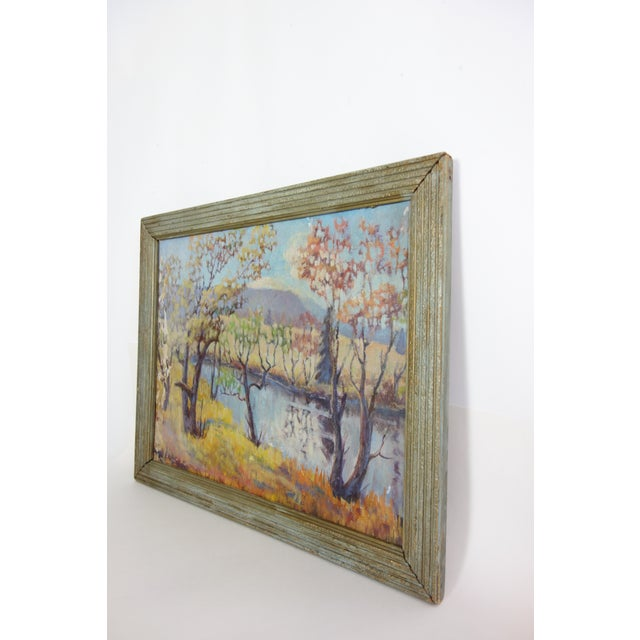Vintage Oil on Canvas Fall Landscape Painting For Sale In Seattle - Image 6 of 12