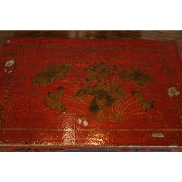 Metal Chinese Red Lacquer Painted Trunk For Sale - Image 7 of 9