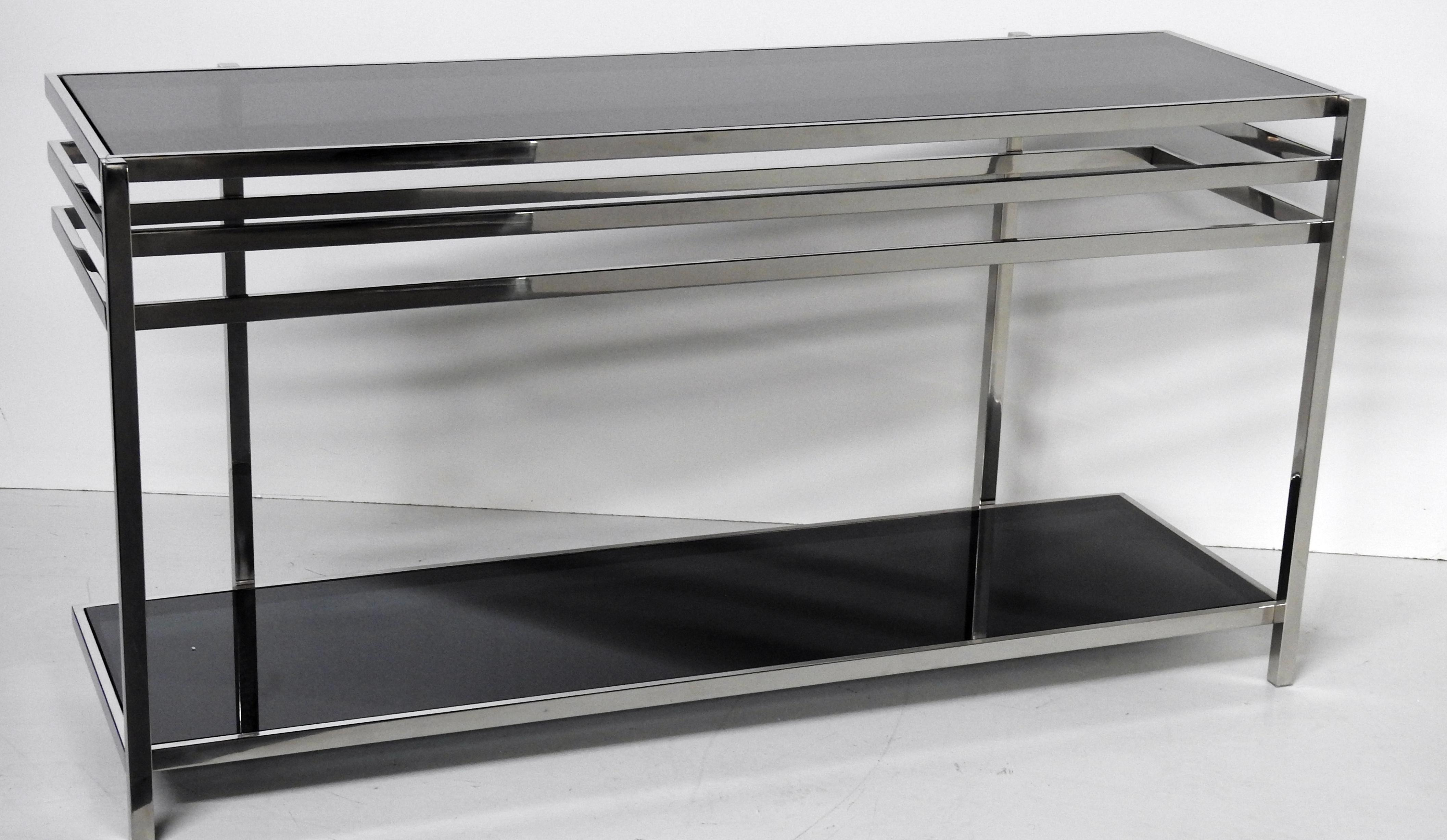 Industrial Modern Chrome Glass Console Table Chairish