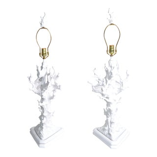 White Porcelain Tree Branch Table Lamps - a Pair For Sale