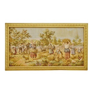 "Early Framed French Tapestry Country Scene 40"" x 23"" For Sale"