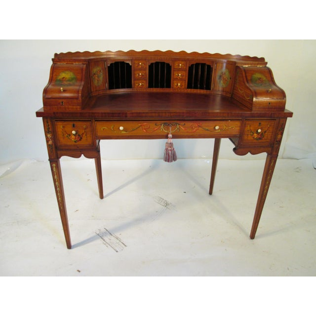 French Antique Satinwood Painted Carlton Desk - Image 2 of 10