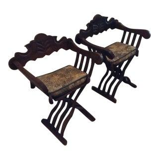Carved Folding Scissor Savonarola Chairs - a Pair For Sale