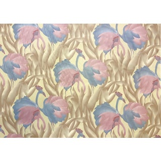 1970s Polished Cotton Fabric With Tropical Flamingo Design, 9 Yards For Sale