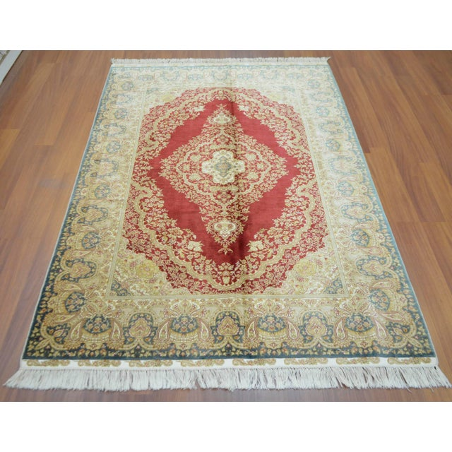 Hand Knotted Turkish Silk Rug - 4′1″ × 5′11″ - Image 2 of 9