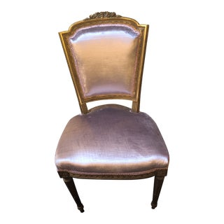 Antique Victorian Gold Gilded Rococo Vanity Chair Newly Upholstered For Sale