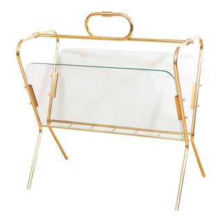 1960s Glass and Brass Curvilinear Magazine Rack For Sale