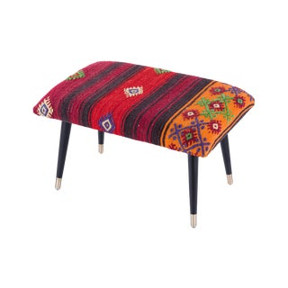 Pasargad Home Bosphorus Collection Berry Tone Kilim Cover Ottoman For Sale
