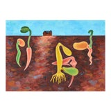 Image of Abstract Farm Painting For Sale