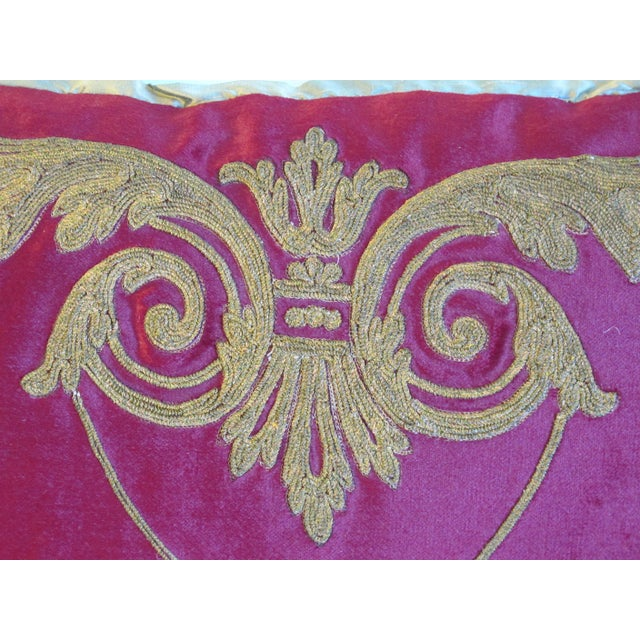 Gold Embroidered Pink Velvet Pillow, 19th Century - Image 3 of 4