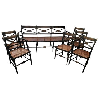 Set of American Hand-Painted Caned Furniture, Bench and Six Chairs, circa 1815 For Sale