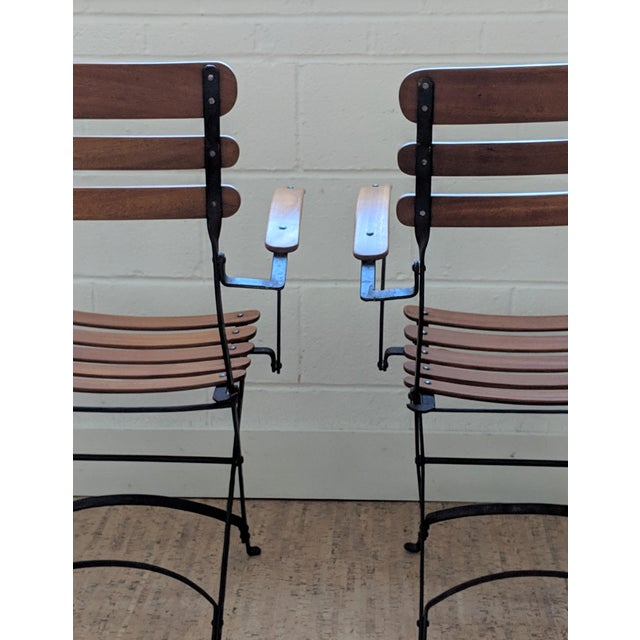 Brown French Country Antique Iron & Teak Garden Chairs – a Pair For Sale - Image 8 of 12