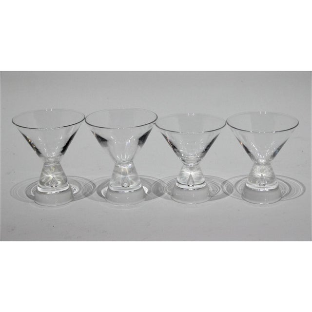 Mid-Century Modern Steuben Martini Glasses Hand-Blown Tear-Shaped Bubble Signed - a Set of 4 For Sale - Image 9 of 11