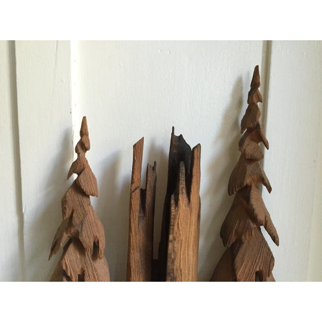 Country Vintage Rustic Redwood Carving Wall Hanging For Sale - Image 3 of 8