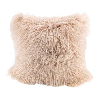 Pink Beige Mongolian Sheepskin Pillow by Tasha Tarno For Sale