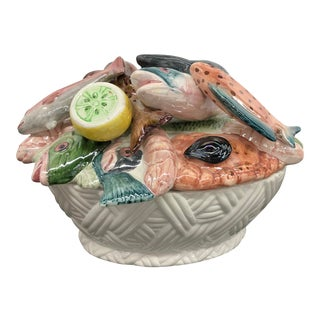 Vintage Italian Majolica Hand-Painted Fish Centerpiece Tureen For Sale