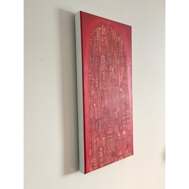 """Contemporary Alexis Duque """"Red Tower"""" NYC Buildings Reimagined Metropolis Acrylic Painting For Sale - Image 3 of 6"""