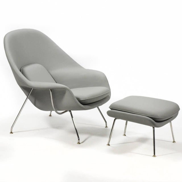 Eero Saarinen Womb Chair and Ottoman in Leather by Knoll - Image 3 of 11