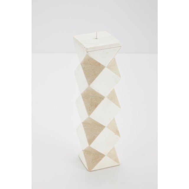 Fiberglass 1990s Convertible Faceted Postmodern Tessellated Stone Candlestick or Vase For Sale - Image 7 of 8