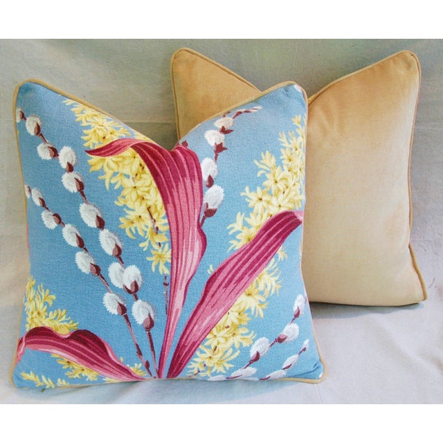 Vintage Tropical Floral Barkcloth Pillows - a Pair - Image 10 of 11