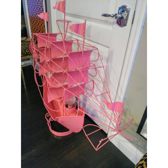 Hollywood Regency Monumental Hot Pink Custom Coastal Sailing Ship 2 Light Table Lamp Light Fixture For Sale - Image 3 of 9