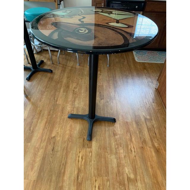 Vintage Mid Century Modern Painted Metal Pedestal Cafe Table For Sale - Image 9 of 9