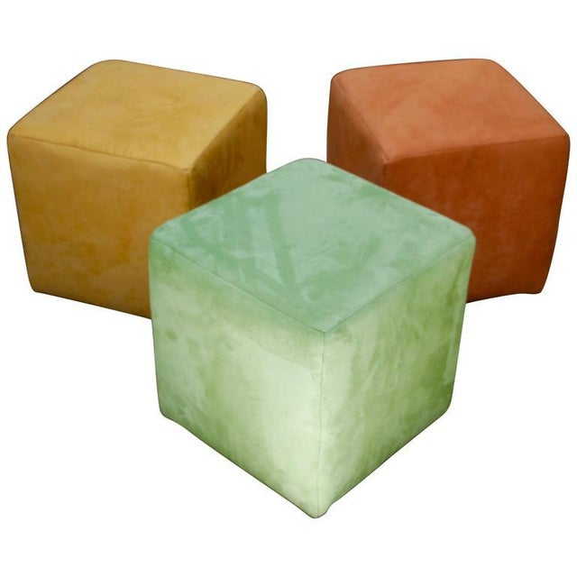 German Himolla Cube Ottomans - Set of 3 For Sale - Image 9 of 9