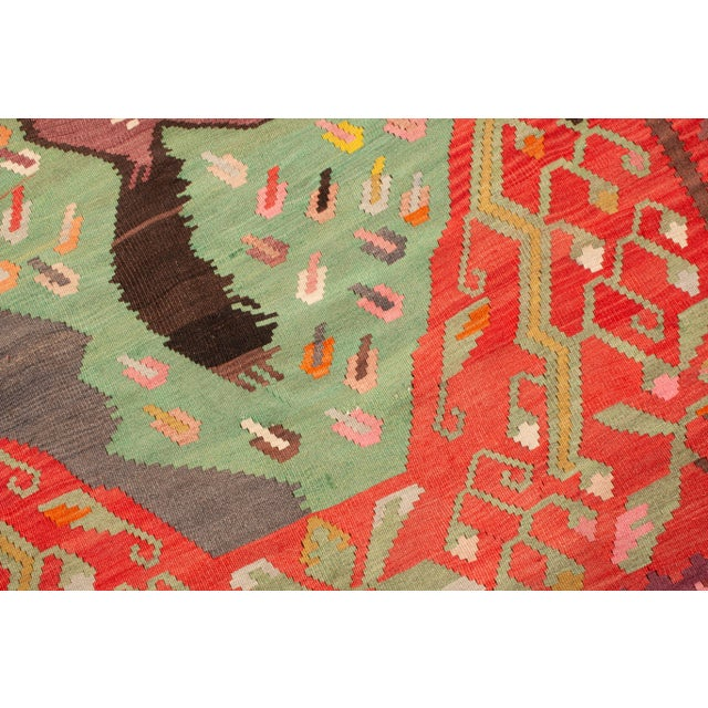 """Mid 20th Century Traditional Colorful Pictorial Donkey Wool Kilim Rug-4'3x7'10"""" For Sale - Image 5 of 7"""