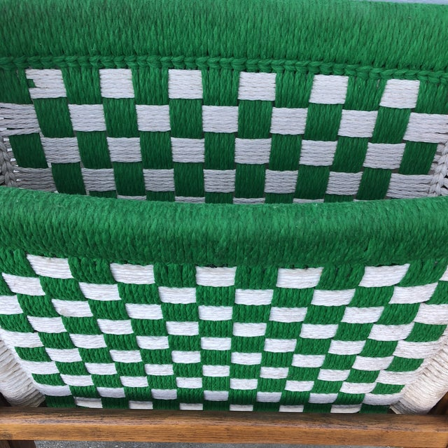 1970s Antique Green Woven Scandinavian Style Folding Wooden Chair For Sale In Atlanta - Image 6 of 7