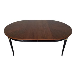 Mid-Century Hollywood Regency Walnut Dining Table With Leaf Extensions