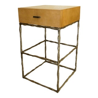 Century Furniture Sculpted Metal and Maple Nightstand or Side Table For Sale