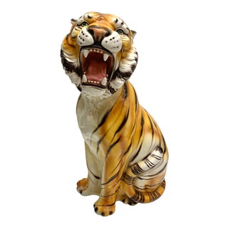 1960s Large Italian Ceramic Bengal Tiger Sculpture For Sale