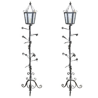 Palm Beach Original Mizner Style Wrought Iron Floor Lanterns W/ Seeded Glass, -Pair For Sale