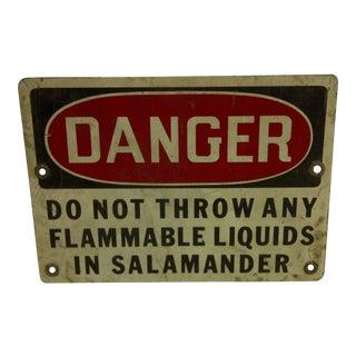 1930s Vintage Metal Danger Sign For Sale