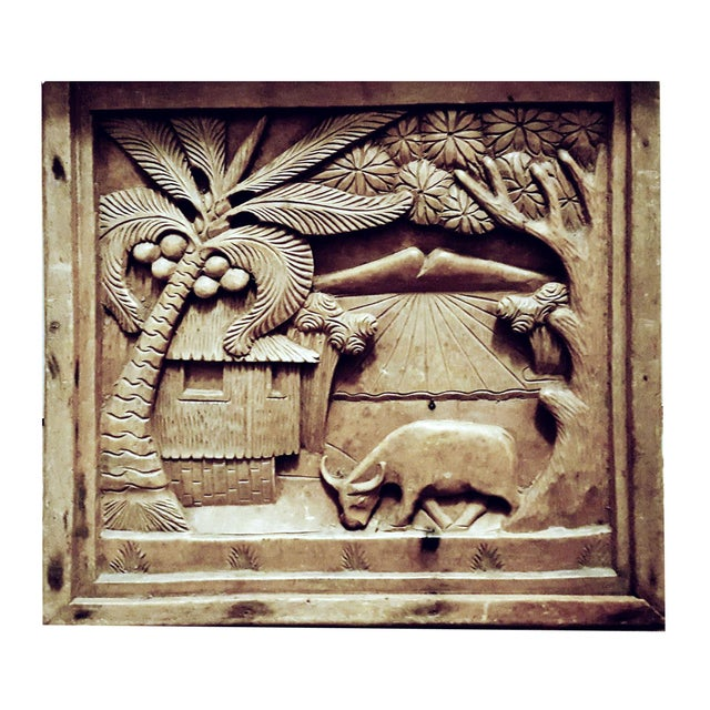 Asian Javanese Hand Carved Solid Wood Storytelling Plaques - a Pair For Sale - Image 3 of 10